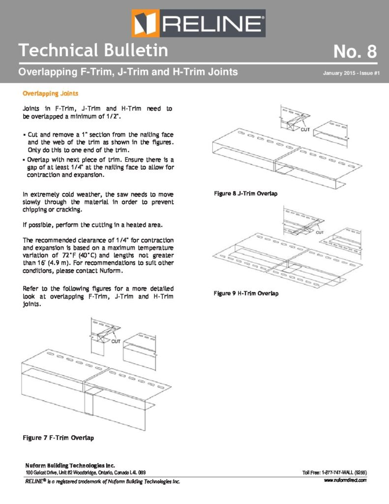 Overlapping F-Trim, J-Trim and H-Trim Joints